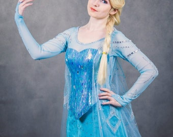 Elsa cosplay Frozen  Halloween costume for  Adult