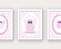 Pink Elephant Nursery Wall Art Prints, INSTANT DIGITAL DOWNLOAD