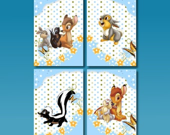 WALL ART SET of 4 A4 Bambi Prints Nursery / Bedroom Wall Art Decor Blue