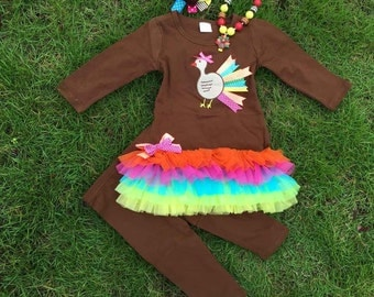 Baby Girls Thanksgiving Outfit Set - Boutique Clothing Set Thanksgiving Turkey Pant Set
