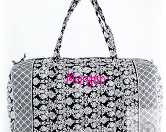 Monogram Quilted Black and White Floral Duffle Bag