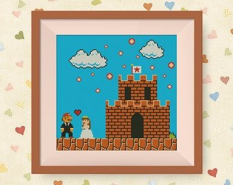 BUY 2, GET 1 FREE! Wedding Mario Cross Stitch Pattern, Retro Super Mario Cross Stitch Pattern, pdf stitch pattern Instant Download, #P135