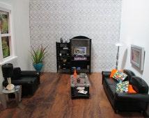 Barbie Furniture Modern Living room 1/6 Scale Custom Refurbished OOAK