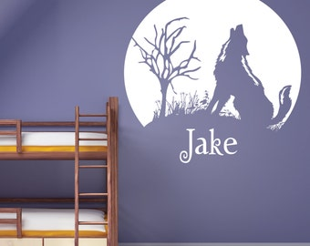 Wolf Silhouette Wall Decal / Twilight Sticker /  nursery wall art