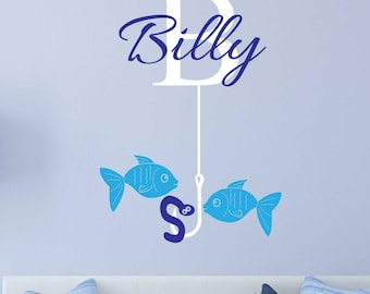 Fish with name Wall decal / Fishing theme nursery wall art PERSONALISED - REMOVABLE
