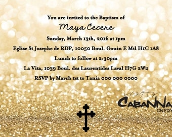 All the Glitters Invitation for Baptism, Communtion, Confirmation