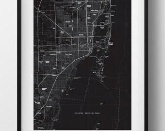 Miami, FL Map Poster 11x17 18x24