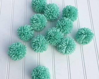 12 Ocean Blue/Green Yarn Pom Poms, Craft Supplies, Party Decor