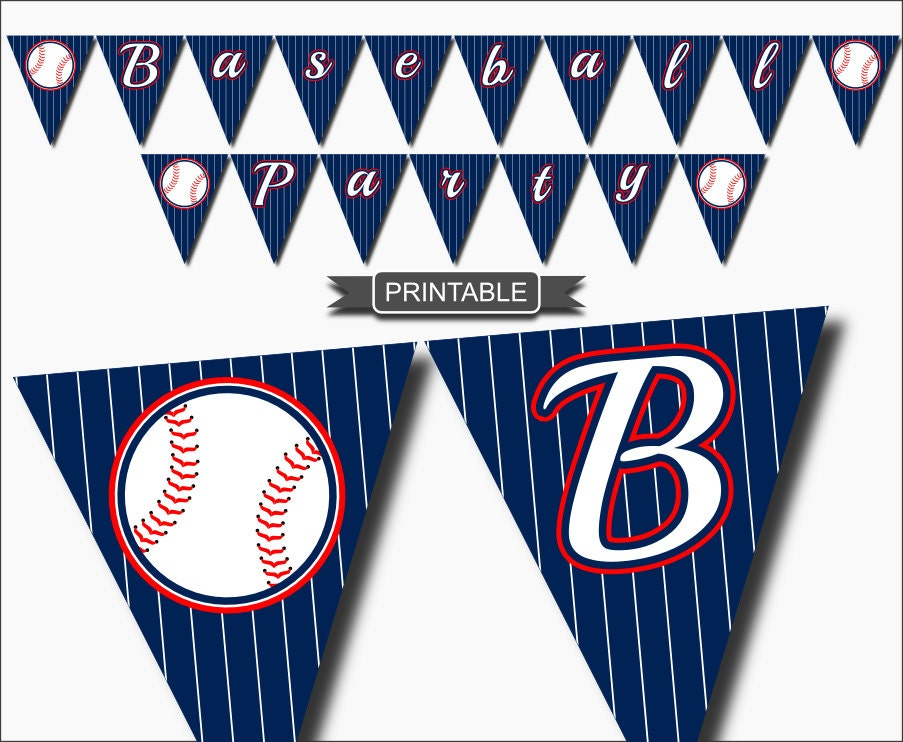 Diy blue white red baseball party decorations by creaseandcut for Diy all white party decorations
