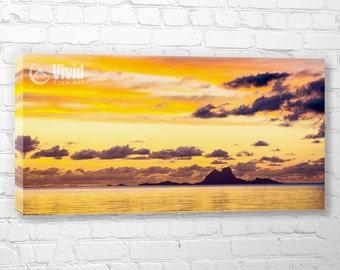 Orange canvas art, living room wall art, South Pacific ocean, Bora Bora, Tahiti sunset canvas, French Polynesia wall art, 3 panel canvas