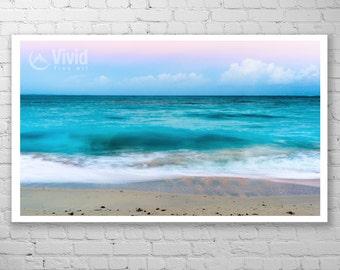 Framed ocean photo, Turks and Caicos, Caribbean blue, framed art print, beach photography, ocean photo art, sea at dawn, 9x9, 12x12, 16x16
