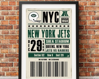 New York Jets Retro Ticket Print