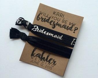 Bridesmaid Proposal Bride Hair Ties Elastics | Bachelorette| Bridal Party