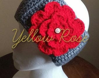 Ohio State Headband - OSU Headband - Earwarmer - Ohio State Buckeyes Headband - OSU Flower Headband. Scarlet & Gray Earwarmer