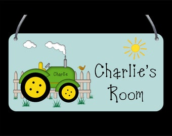 Tractor Door/ Wall Plaque - Child's name, Personalised, Wall Sign, Girls, Boys, gift- FREE POSTAGE
