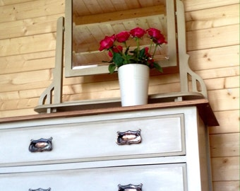 SOLD VINTAGE EDWARDIAN Dresser (Chest of Drawers) Hand Painted in Annie Sloan Country Grey