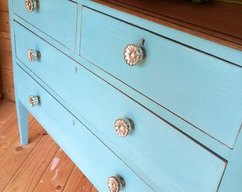 SOLD VINTAGE CHEST Of Drawers in Solid Mahogany Hand Painted in a Turquoise Mix of Annie Sloan Chalkpaint with a Walnut Stained Top