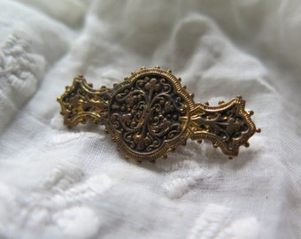 Vintage french brooch with arabesque, edwardian brooch, vintage french jewelry,