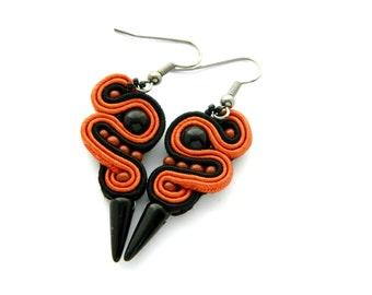 Black earrings, embroidered jewelry, spike earrings, soutache earrings, dangle earrings, autumn earrings, steampunk earrings