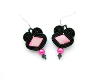 Black earrings, pink earrings, small earrings, dangle earrings, embroidered jewelry, soutache earrings, shell bead earrings,