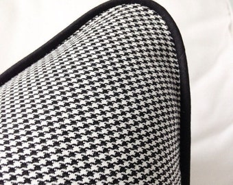 Black and white houndstooth rectangular cushion cover, black and white cushion, cuahion cover, pillow case, throw pillow, decorative p