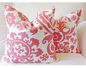 CORAL AND WHITE cushion cover, cushion cover, coral cushion, coral pillow, deocative pillow cover, pillow case, coral and white pillow cover