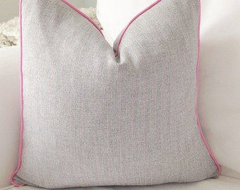 Light grey and pink cushion cover, grey cushion cover, cushion cover, decorative pillow, throw pillow, gray pillow, cushion, pillow