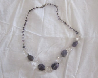 Amethyst and rock crystal, vintage jewelry necklace