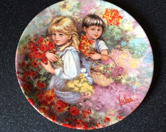 "Vintage 1983 Wedgwood ""Our Garden"" Queen's Ware Collectible Plate - My Memories Collection by artist Mary Vickers"