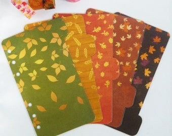 Set of 5 Autumn Leaves Personal / A5 / Pocket Planner Dividers