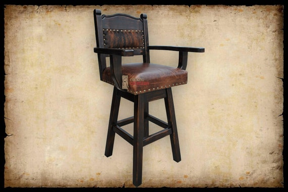 Hacienda Western Swivel Bar Stool With Cowhide By