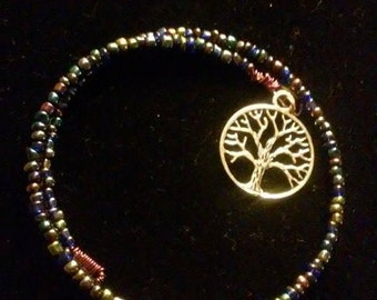 Tree of Life memory wire beaded bracelet