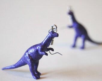 FREE SHIPPING Glitter Purple Plateosaurus Dinosaur Plastic Toy Earrings Hypo-allergenic