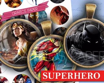 "Superhero cartoons - digital collage sheet - td263 - 1.5"", 1.25"", 30mm, 1 inch circles instant download pendants images bottle caps"