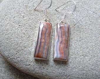 925 sterling silver earrings / Laguna Lace agate gemstone earrings