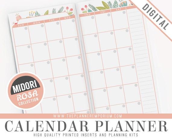 Planner Calendar Inserts : Midori calendar planner inserts rosa collection