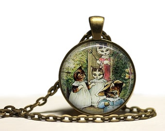 The Tale of Tom kitten pendant Antique Animal jewelry Cat necklace