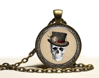 Steampunk skull pendant Antique medical jewelry Anatomy necklace