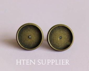 100pcs12mm Antique bronze earrings Settings, Earstuds Ear Stud, Cabochon Setting