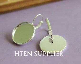 100pcs silver bronze Earrings Settings, French Earring Ear Wire, multiple models 10mm 12mm 14mm 16mm 18mm 20mm 25mm