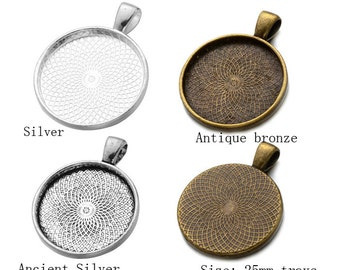 10pcs 25mm silver pendant setting, 25mm glass brass pendant blank base, silver antique bronze 25mm pendant trays