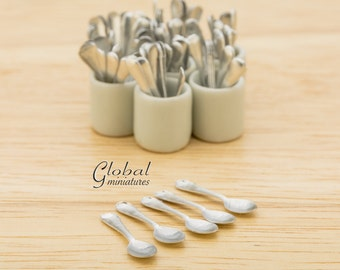 100pc - Dollhouse Miniatures Decorating Supply Metal Silverware Spoon Tableware Utensils