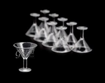 10pc/Set - Dollhouse Miniatures Plastic Martini Glass
