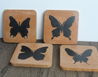 Wooden Coaster Set - Butterfly