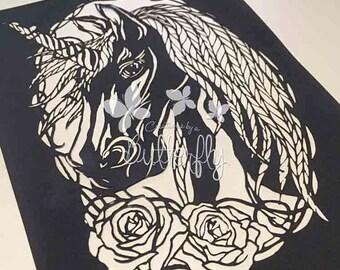 Beautiful Unicorn, Hand Finished Paper Cut