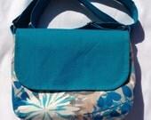 Shoulder / Messenger Bag Turquoise Floral