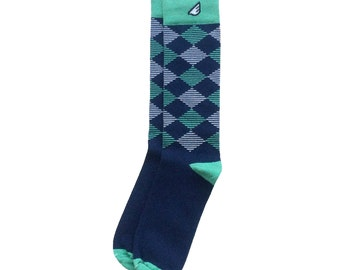 "Wedding Socks | Groom Groomsmen Socks | Argyle socks - Navy, Light Green & White - Fun Colorful - ""Scotsman"" Christmas Gift Stocking Stuffer"
