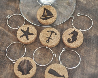 Wine Glass Charm, Nautical Wine Charms, Wine Charms, Beach House Gifts Beach Gifts, Wine Rings, Cork Wine Charms, Wedding Favors, Gift Ideas