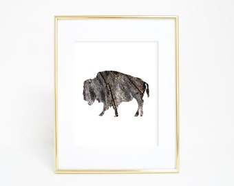 Printable Wall Art, Buffalo Print, Wood Print, Rustic Print, Buffalo Art, Digital Print, Bison Art Print, Instant Download, Downloadable Art