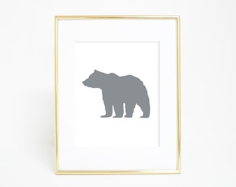 Gray Bear, Bear Artwork, Woodland Art Print, Woodland Decor, Woodland Nursery, Bear Print, Instant Download, Digital Wall Art, Dorm Decor